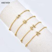 Andywen 925 Ayar Gümüş İlk 26 Mektuplar Alfabe Monogram Altın Adı Bilezik Kristal CZ Zirkon 2021 Moda Takı