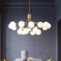 노르딕 펜던트 램프 지점 유리 거품 그늘 샹들리에 조명 현대 거실 램프 침실 낭만적 인 골드 교수형 조명 고정물 LED