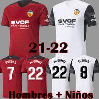 21 22 Valencia CF 축구 유니폼 VCF 저지 2021 2022 Guedes Gameiro Camisetas de Fútbol C Soler Florenzi M.Gómez 남자 키트 축구 셔츠 탑 유니폼
