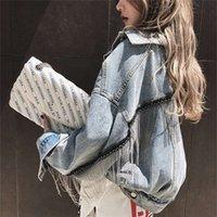 HAMALIEL Женская джинсовая длинная куртка втулка Batwing Spring Builing Tassle короткая свободная девушка джинсы мода Harajuku верхняя одежда