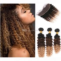 Ombre 1B 4 27 Honey Blonde Deep Wave Virgin Brazilian Human Hair Bundles With Lace Frontal Closure Three Tone Ombre Curly Hair Wefts