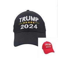 米国在庫2021パーティーギフトトランプ2024大人のためのポリエステル野球キャップ帽子黒赤赤の1サイズすべてフィット