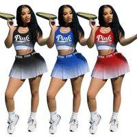 Womens Trainingsanzug Tennis Baseball Cheerleader Casual Drei Stück Anzug Frauen Sports Damen Trainingsanzüge Sport Jogging Anzüge Rock Set G554H9K