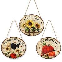 Thanksgiving Day Party Decorations Wooden Door Window Wall Hanging Strips Pumpkin Doorplate For Home Gardon Decoration GWD10550