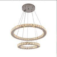 Pendant Lamps Creative Stainless Steel Round Crystal Chandelier Modern Minimalist LED Lights Luxury Bedroom Restaurant Household Indoor Lighting Decoration