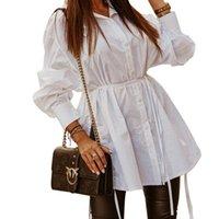Повседневные платья рубашка платье женщины с длинным рукавом вечеринка Bodycon Club Mini Tshirt Dreses черный белый абрикосовые дамы женские моды осень осень