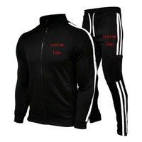 Uomo Primavera Autunno Casual Sport Suit Felpa Giacca con cerniera + Pantaloni Brand Brand di cotone di alta qualità Personalizzato