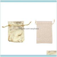 Packaging Display Jewelry50pcs Gold Foil Borsa in organza Borsa da regalo caramelle 7x9cm con 40pcs DSTRING DSTRING, sacchetti di gioielli 13x10cm, goccia DeLive