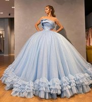 Women Sparkly Puffy Ball Gown Quinceanera Dresses Strapless Evening Gowns Ruffles for Juniors Formal Party