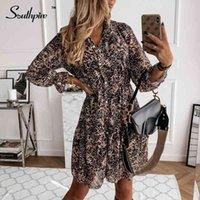 Southpire Roupas Mulheres Leopardo Impressão Vestido Vestido Botão Frente Chiffon Camisa Vestido Simples Diário Vestidos Feminino 210329