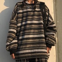 Women Oversize Pullover Ulzzang Unisex Sweater Japanese Style Striped Knit Female Vintage Knitted Women's Sweaters