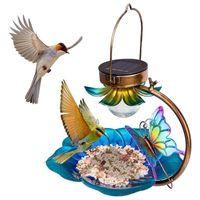 Andere vogellevering zonne-feeder voor buiten opknoping wilde feeders zaadbak buiten aangedreven tuin licht metalen decoratieve