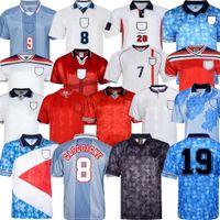 1990 Inglaterra Retro Jersey 90 91 1996 1998 2002 Gascoigne Shearer Beckham Futebol Jersey 1990 Fowler 1989 Camisa de Fútbol Gerard Scholes Owen 1994 Hesque Comemorar