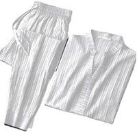 Men's Tracksuits Suit High-end Solid Color Breathable Striped Ice Silk Casual Light Luxury Lightweight Youth Two-piece