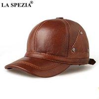 LA SPEZIA Hat Men Real Leather Winter Baseball Cap Brown Snapback Cowskin High Quality Men's Adjustable Baseball Hat Q0911