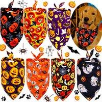 Dog Apparel Puppy Triangle Saliva Scarf Skeleton Pumpkin Printed Bandana Dogs Neckerchief Halloween Pet Supplies w-00994