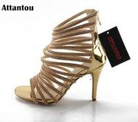 Attantou Conciso Oro Patente de Patente Tacones Altos Sandalias Mujeres Crystal Tobillo Correa Vestido de verano Zapatos Mujer Abre Ae