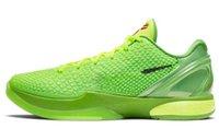 2021 Yayın otantik Noel 6 Protro Grinch Ayakkabı Mamba Yeşil Elma / Volt-Crimson-Siyah Adam Orijinal Kutusu ile Açık Spor Sneakers