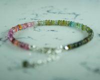 Bracelets Multi Color Tourmaline Gemstone Bead 925 Sterling Silver Jewelry for Women, October Birthstone, Hand Made in Turkey