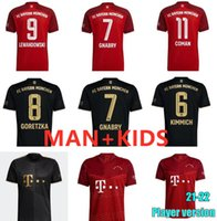 21 22 Bayern Münih Futbol Formaları Uzakta Siyah 2021 2022 Erkekler + Çocuklar Lewandowski Kimmich Muller Pavard Akıllı Gnabry Futbol Gömlek