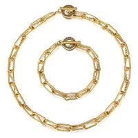 Bracelet de boîte Rolo Twisted Twisted Set Cadeau de câble en acier inoxydable de couleur or pour ses ensembles de bijoux TSS019