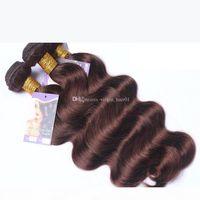 Abbassi dei capelli umani malesi # 2 Brown Brown Wave Body Wave Virgin Hair Wefts Cioccolato Color Body Wave Extensions Macho Colorato 3pcs