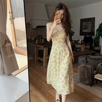 Casual Dresses women Spring 2021 Korean Fashion Cottage Core Vintage Clothes Sexy Fairy Sstrap Summer Elegantes Drop Q4F5