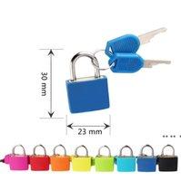 30x23mm mini mini forte cadeado de metal viajar mala de viagem diário bloqueio com 2 chaves segurança bagagem cadeado decoração muitas cores ewd5587