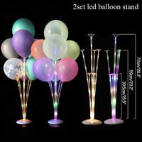 LED Ballon stand column with Glow lights string with Wedding home decoration Adult Birthday party decor kids balloon gift globos Y0730