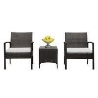 야외 등나무 테이블 의자 세트 안뜰 조합 공원 레저 정장 협상 발코니 소파 검은 가정용 가구