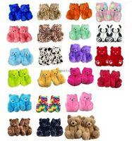 18 estilos calçados sapatos de pelúcia ursinho de pelúcia casa chinelos marrom mulheres casa interior macio antiderrapante fan fofo fofo macio rosa leopardo chinelos mulheres inverno