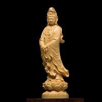 10/16/21/30 CMS Estatua de Buda Kuan Yin Guanyin Chino Decoración de la casa de la pared Escultura de la pared Accesorios para automóviles Wood dios estatuas 210326