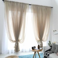 300cm Height Pure Color Curtain Living Room Window Finished Tulle Sheer Voile Curtains For Bedroom Rideaux Voilage Drapes 210608