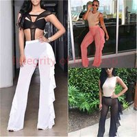 New Women Beach Mesh Sheer Bikini Cover Up Black White Ruffles Swimwear Bathing Suit Bottom Pants Trousers