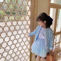 INS Girls bling princess Sets children sequins zipper outwear+tulle tutu skirts 2pcs Kids Party outfits A7071
