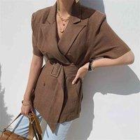 Koreanische Leinen Zweireiher Gürtelte Ol Frauen Blazer Kurzarm Kurzarm Kragen Sommer Elegante Mode Lässige Mäntel Anzüge 210514