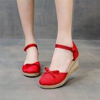 Sandals Summer Women Linen Bow Knot 6cm Wedge Bohemian Ladies Casual Comfortable Espadrilles Platform Pumps 34-41