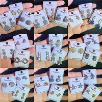 여자 스터드 귀걸이 동물 나비 꿀벌 하트 과일 스타 삼각형 디자인 스터드 패션 라인 석 진짜 금 도금 드롭 귀걸이 큐빅 지르코니아 파티 결혼 선물