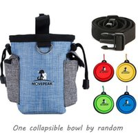 16.5*14*8cm Dog Training Bag Pet Treat Pouch with Waist Shoulder Strap Collapsible Bowl Poop Bags Dispenser