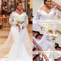 Plus Size Arabic Mermaid Lace Sexy Wedding Gowns V-neck Long Sleeves Simple Custom Made Bridal Dresses