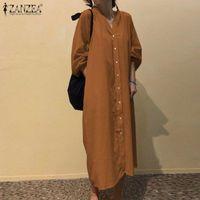 Femme Robe Dresses Fashion Women Shirt Dress Autumn V Neck Long Sleeve Solid Sundress ZANZEA Plus Size Buttons Vestidos Kaftan 7 Casual
