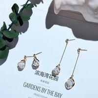 Серебряные Золотые Серьги Opal Капля для Женщин Корейские Капли воды Элегантная Длинная Длинная Геометрия Геометрии Геометрия Геометрия Люстра Шарди