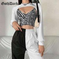 Goth Dark Gothic Aesthetic E-girl Zebra Printed Knitted Camis Long Sleeve White Crop Sweatshirts Two Piece Set Women Streetwear1
