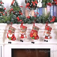 Christmas Stockings Tree Hanging Decorations Plaid Snowflake Xmas Holiday Mini Stocking Holders Snowman Reindeer for Party Favors CC0404