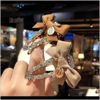 Clips & Jewelry Jewelrykimter Fabric Bow Hairclip Rhinestone Barrettes For Women Lady Crystal Hairpin Boutique Headwear Hair Aessories M939F