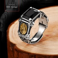 925 Sterling Silver Vintage Black Stone Virgin Mary Finger Ring for Men Women Open Cuff Band Rings Cubic Zirconia Onyx Jewelry Bijoux Birthday Christmas Gifts Anillo