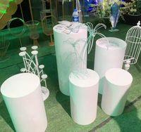 Pedestal Decoraciones de boda Hierro Cilindro Plinth Pantalla Pantalla 2021 Ronda 5pcs Risers Blanco Metal moderno 5 pieza Set CN (Origen) Otro Hogar