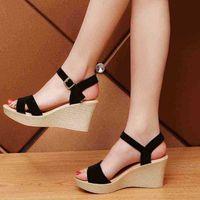 Frauen wedges Sandalen, Sommer Fersen, Knöchelschnalle Strap Platfortm Schuhe, dicker Boden, weibliche Schuhe schwarz, rot, beige 210619 ogfx