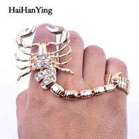 Yutong novo exagerado punk escorpião dois peça anel de cristal ajustável personalidade retro animal grande estilo de rocha especial jóias