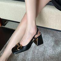 Women's Mid-Heel Slingback Pumpe mit Horsebit Sommer Vintage Sandalen echte Leder Maultiere Schuhe Square Serpentine Party Schuhe mit Box 273